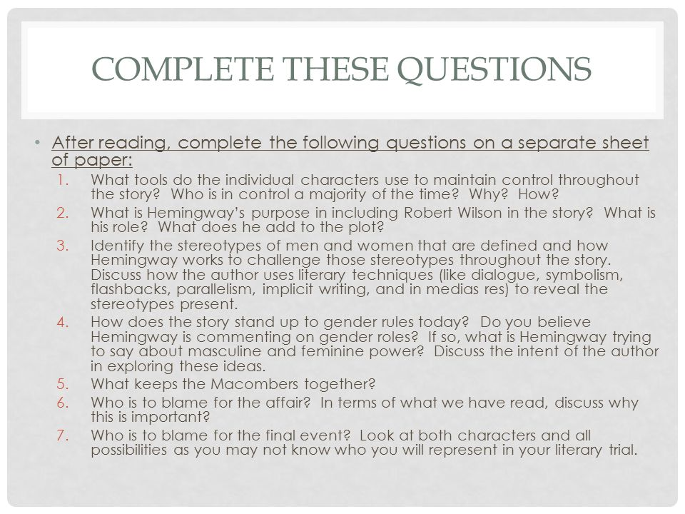 Complete These Questions