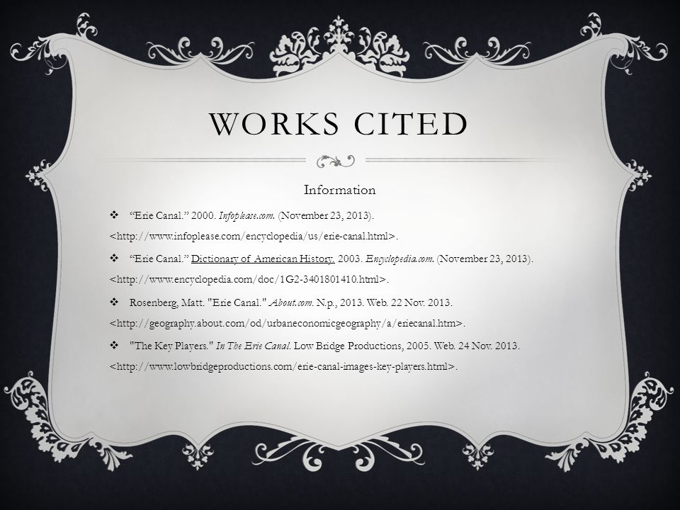 Works Cited Information
