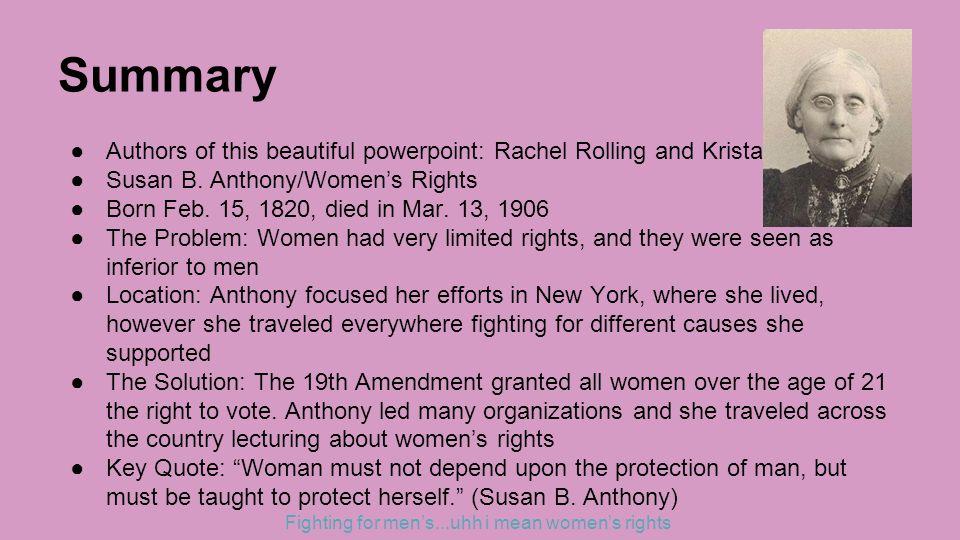 Susan B Anthony Essay