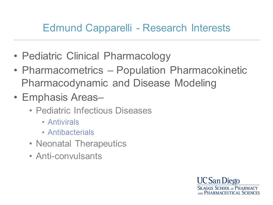Edmund Capparelli - Research Interests