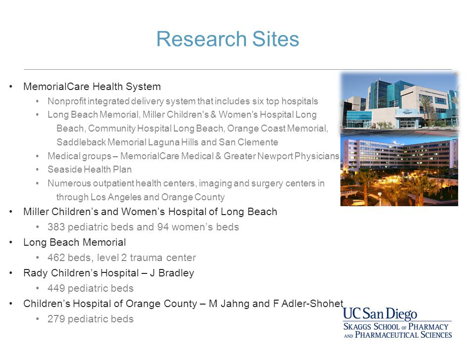 Research Sites MemorialCare Health System