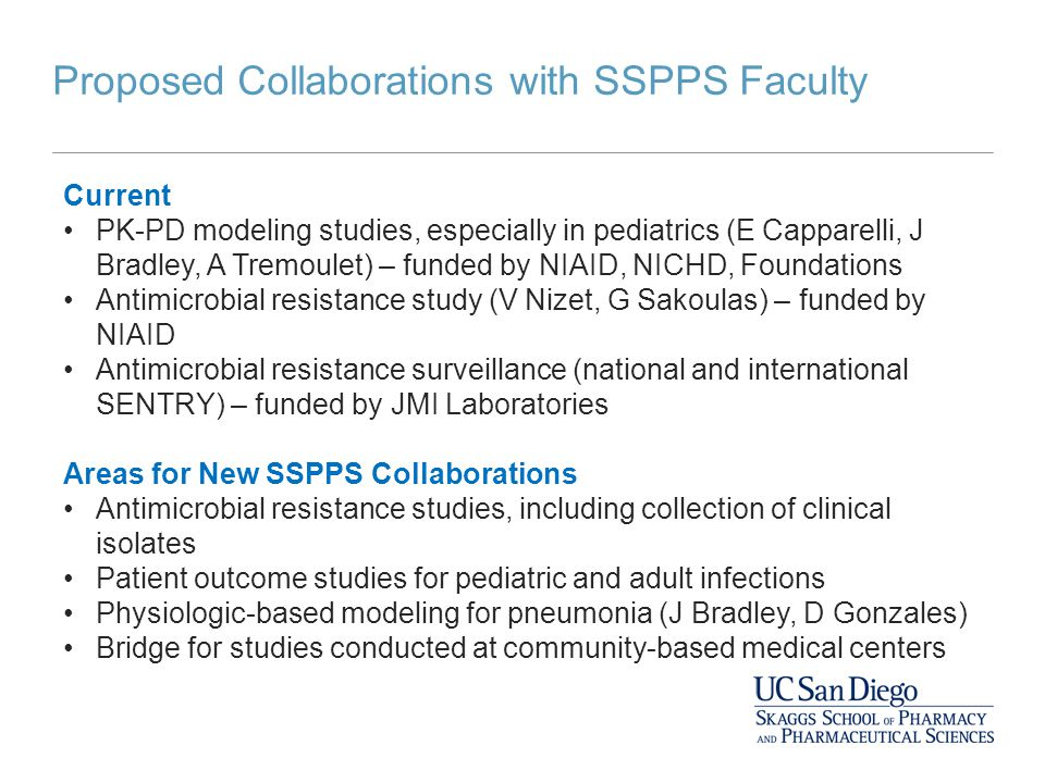 Proposed Collaborations with SSPPS Faculty