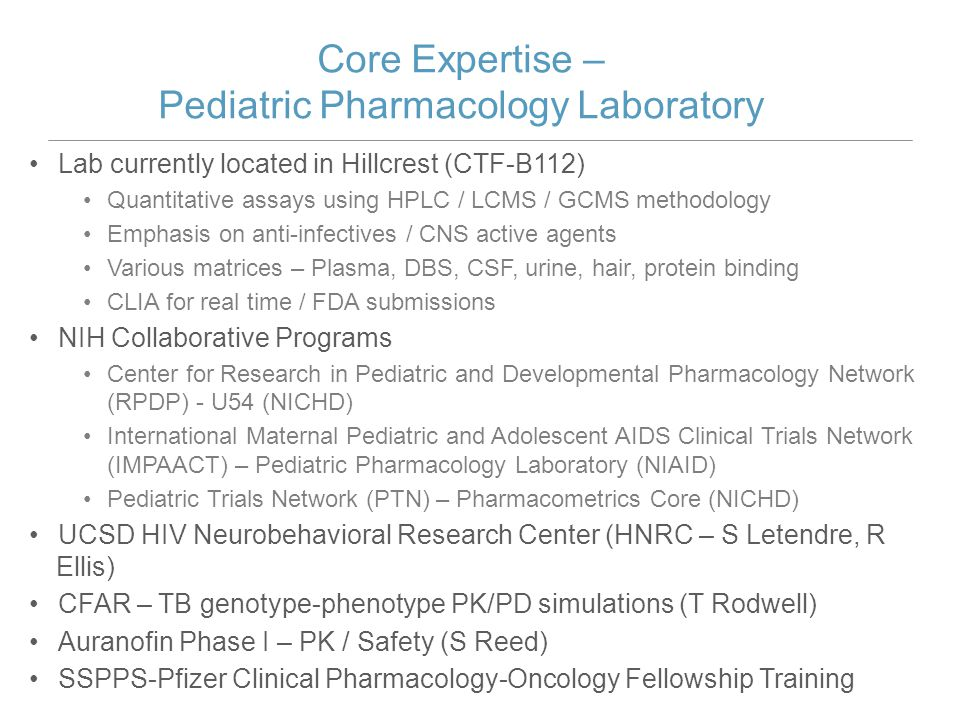 Core Expertise – Pediatric Pharmacology Laboratory