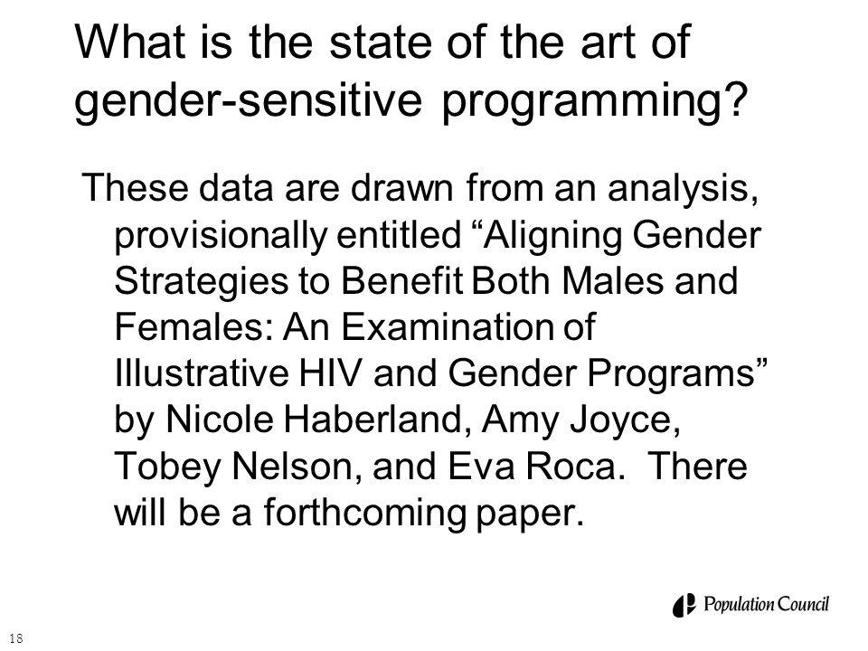 What is the state of the art of gender-sensitive programming