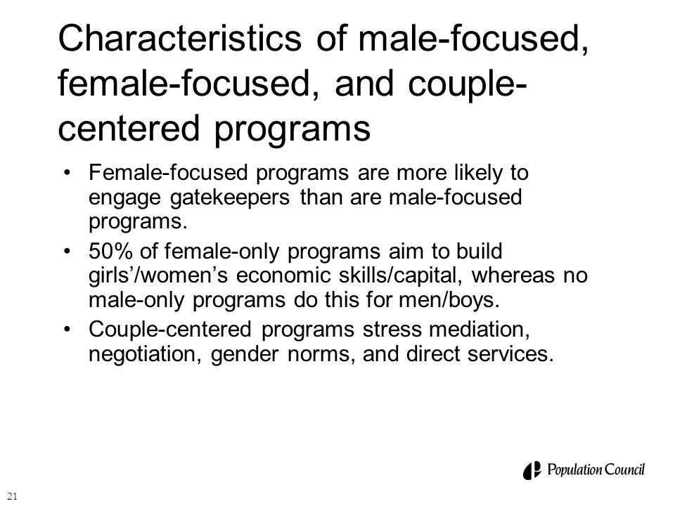 Characteristics of male-focused, female-focused, and couple-centered programs