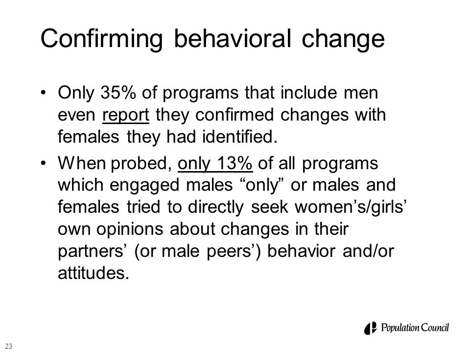 Confirming behavioral change