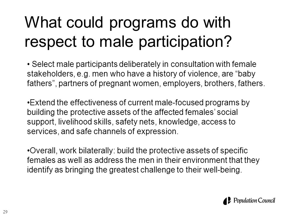 What could programs do with respect to male participation