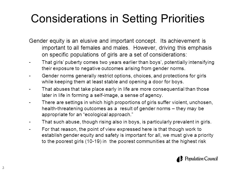 Considerations in Setting Priorities