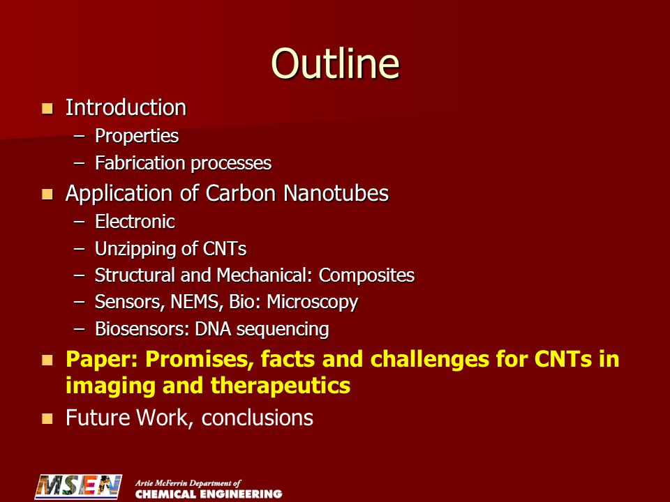 Outline Introduction Application of Carbon Nanotubes