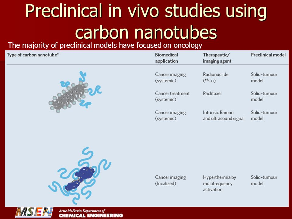 Preclinical in vivo studies using carbon nanotubes