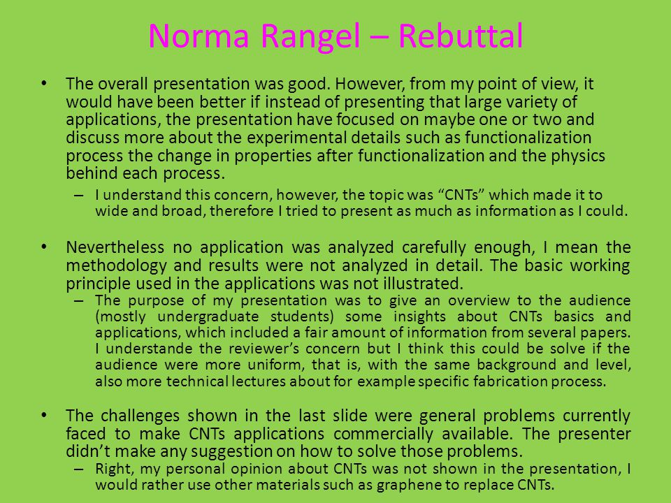 Norma Rangel – Rebuttal