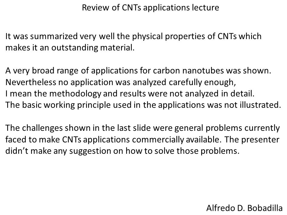 Review of CNTs applications lecture