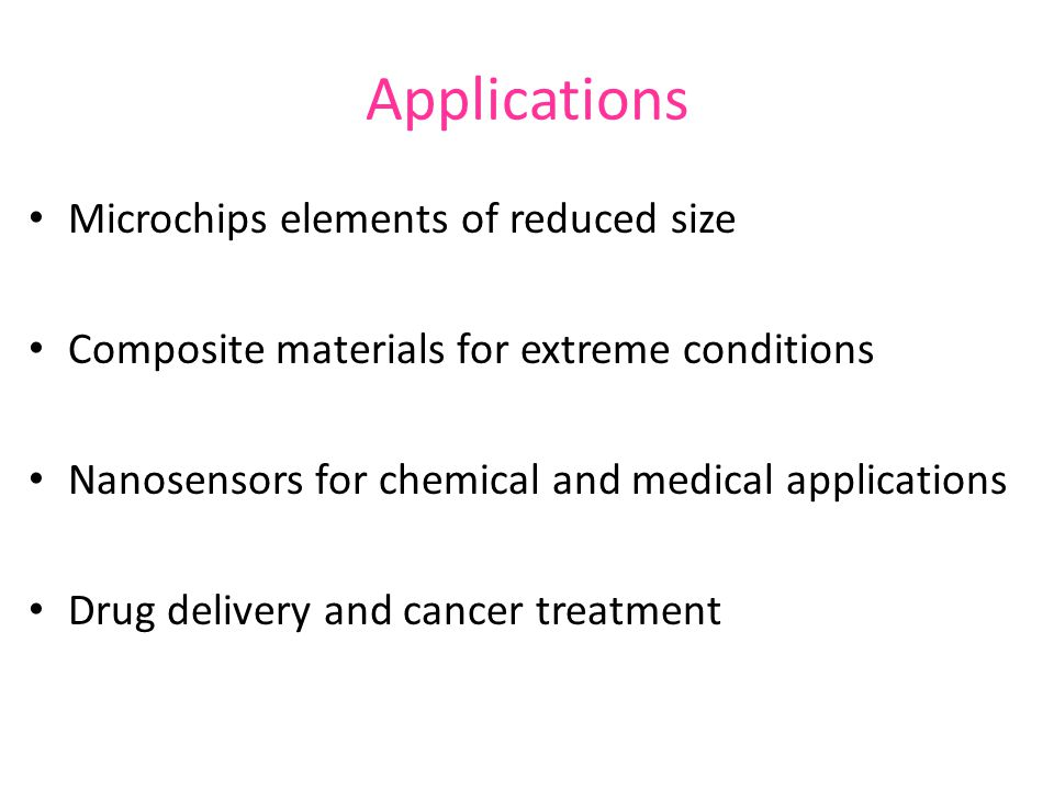Applications Microchips elements of reduced size