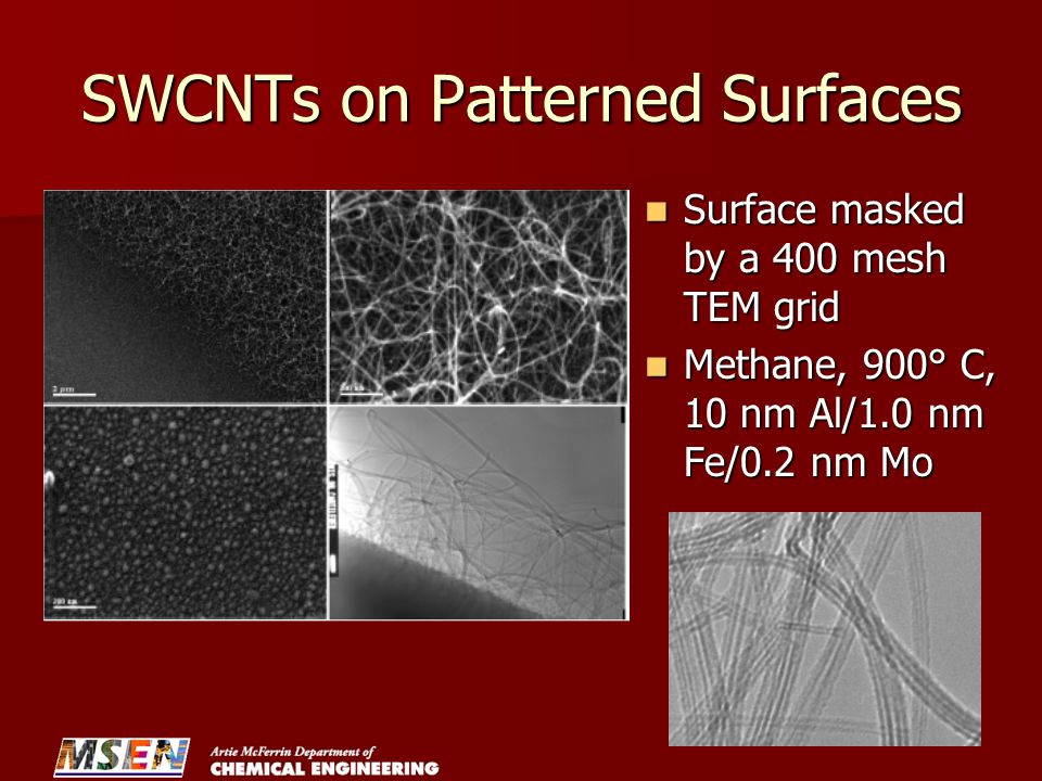 SWCNTs on Patterned Surfaces