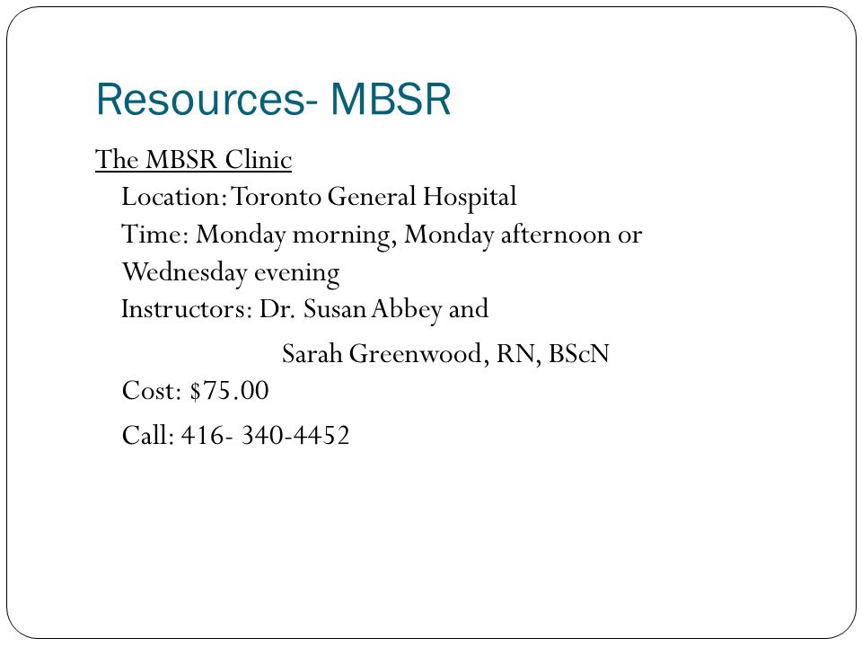 Resources- MBSR
