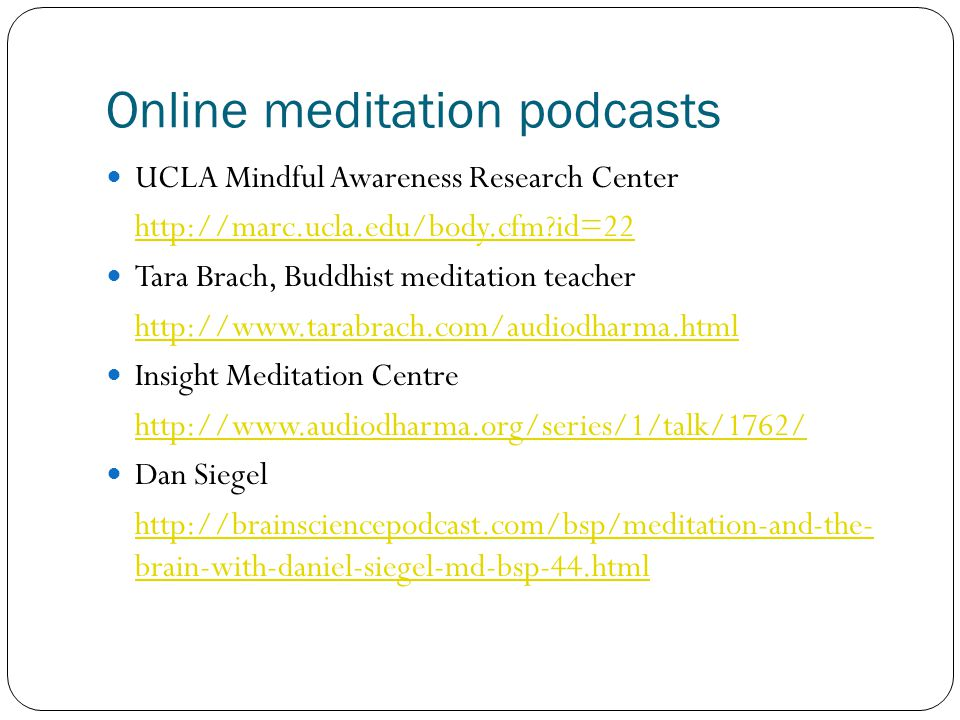 Online meditation podcasts