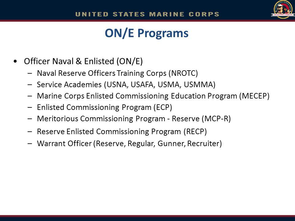 ON/E Programs Officer Naval & Enlisted (ON/E)