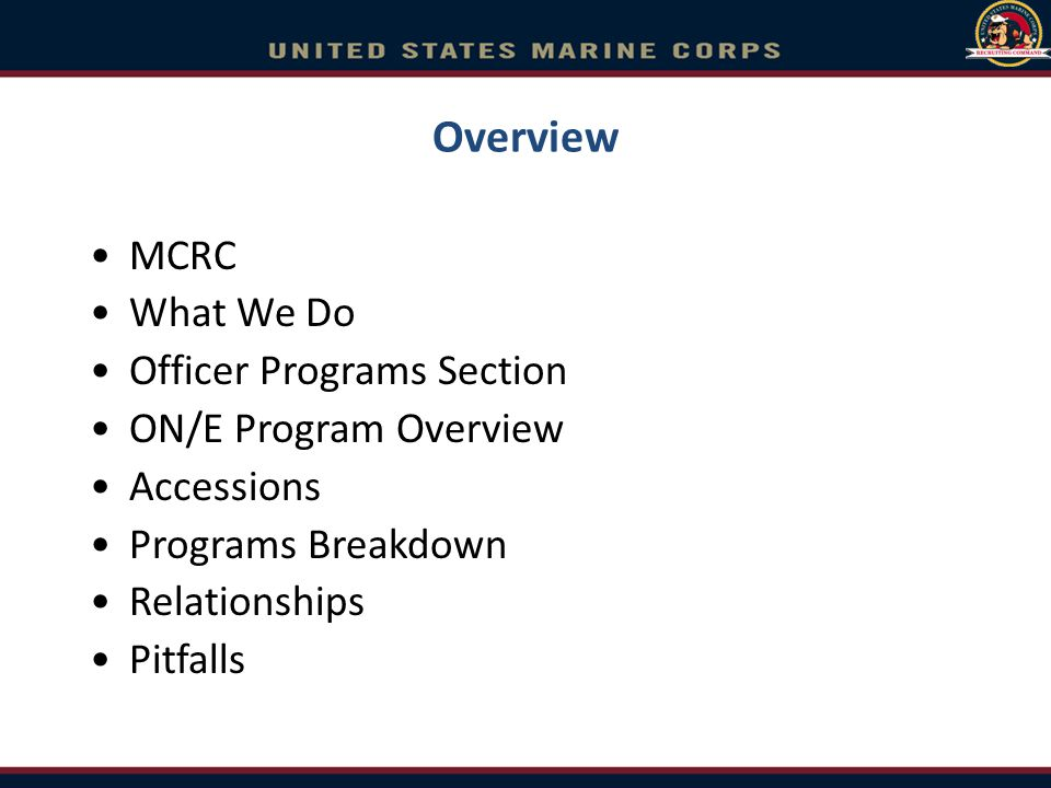 Overview MCRC What We Do Officer Programs Section