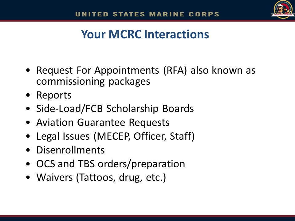 Your MCRC Interactions