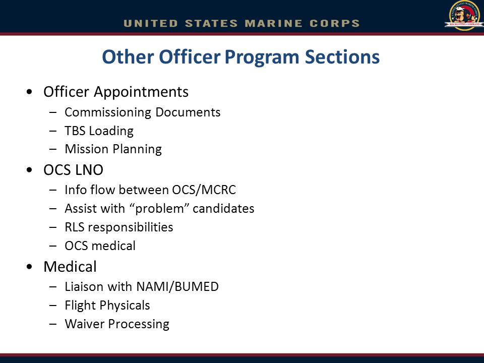 Other Officer Program Sections