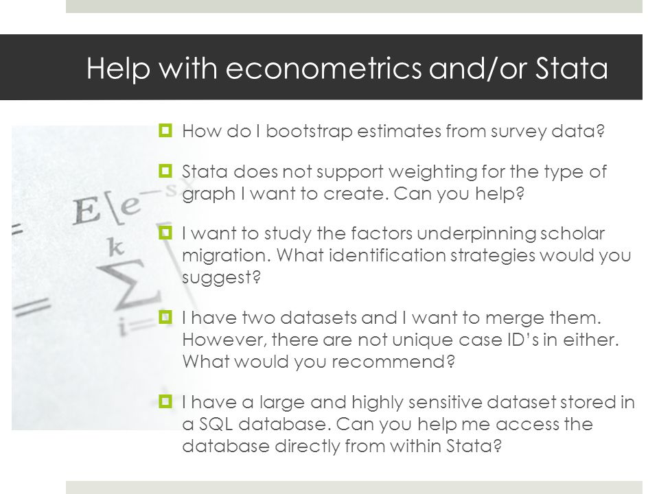 Help with econometrics and/or Stata