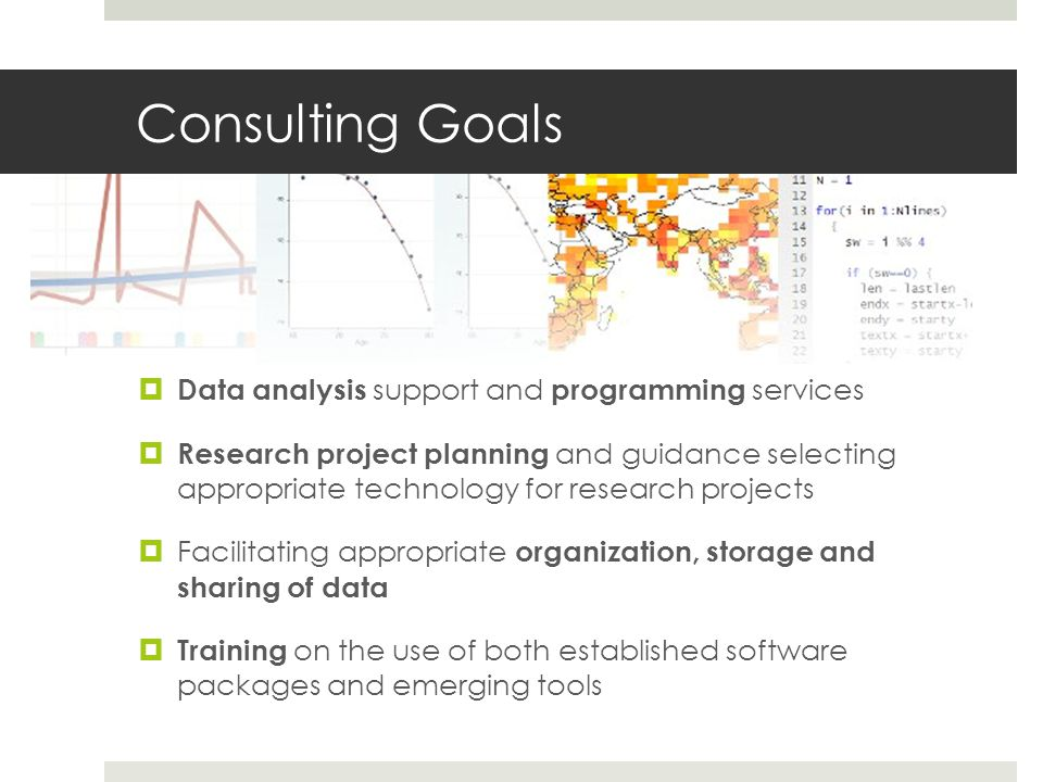 Consulting Goals Data analysis support and programming services