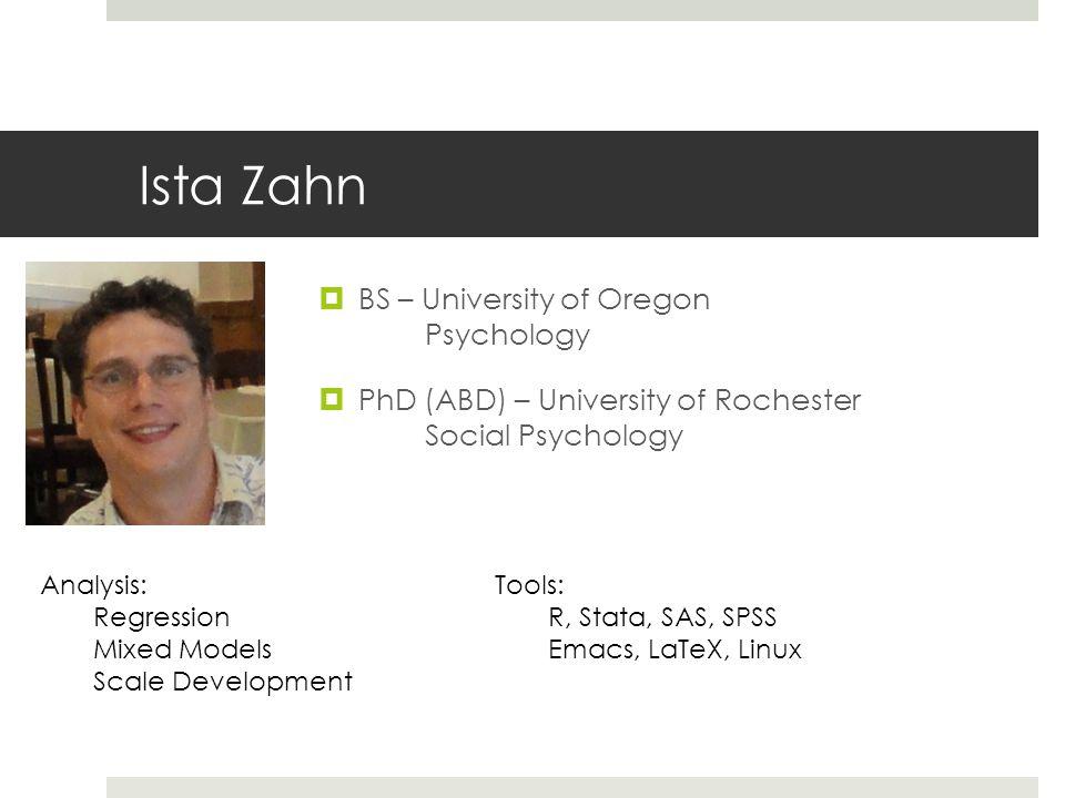 Ista Zahn BS – University of Oregon Psychology