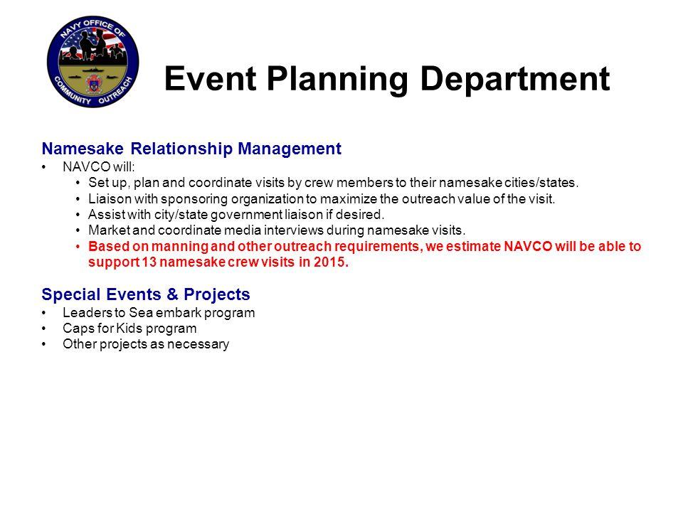 Event Planning Department Namesake Relationship Management: Visit Planning