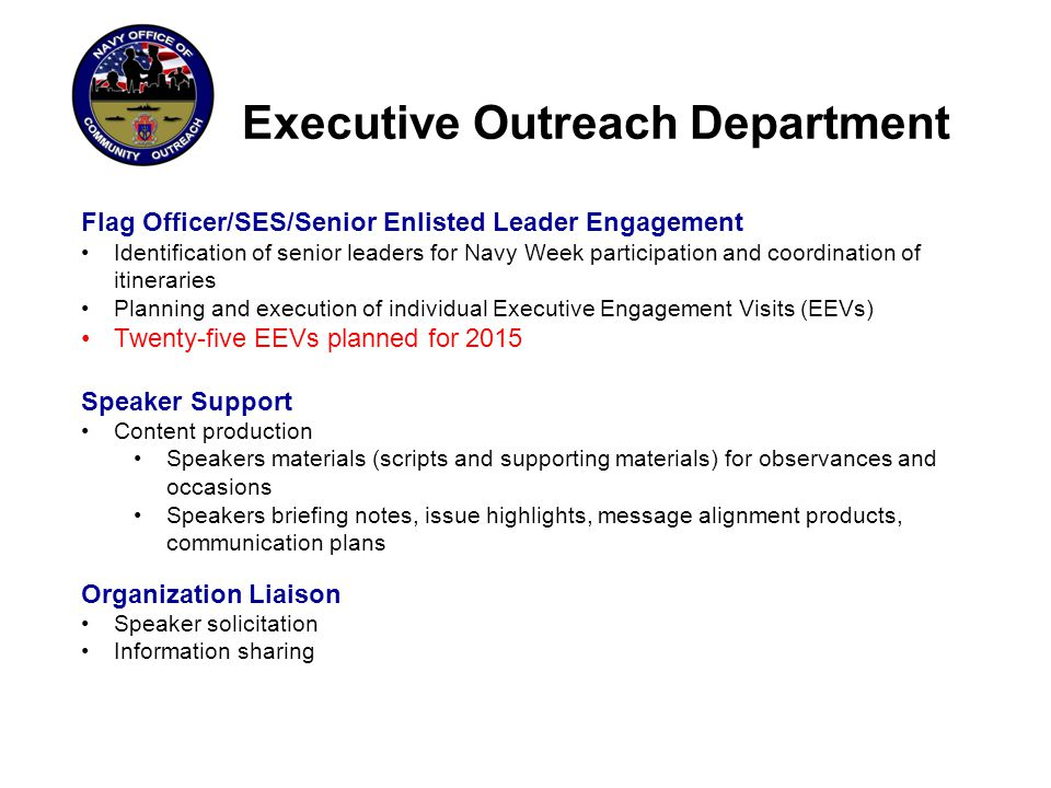 Executive Outreach Department Speaker Support: Proactive Speaker Engagement