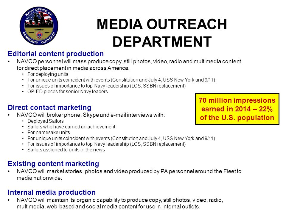 MEDIA OUTREACH DEPARTMENT Editorial Content Production