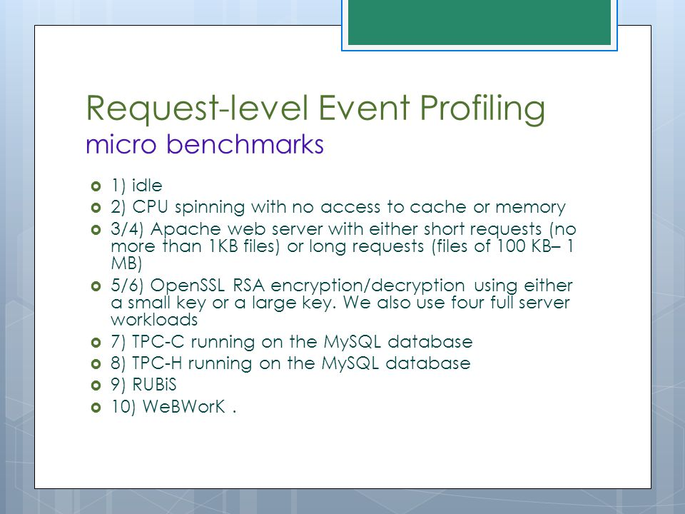 Request-level Event Profiling micro benchmarks