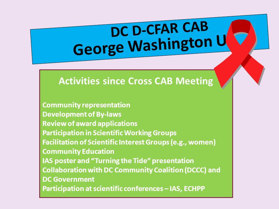 Activities since Cross CAB Meeting
