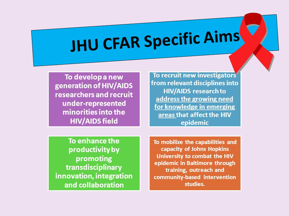 JHU CFAR Specific Aims To develop a new generation of HIV/AIDS researchers and recruit under-represented minorities into the HIV/AIDS field.