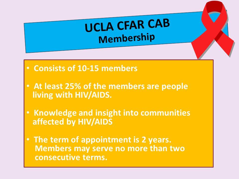 UCLA CFAR CAB Membership Consists of 10-15 members