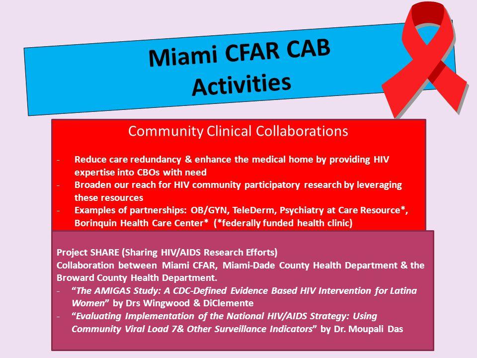 Miami CFAR CAB Activities