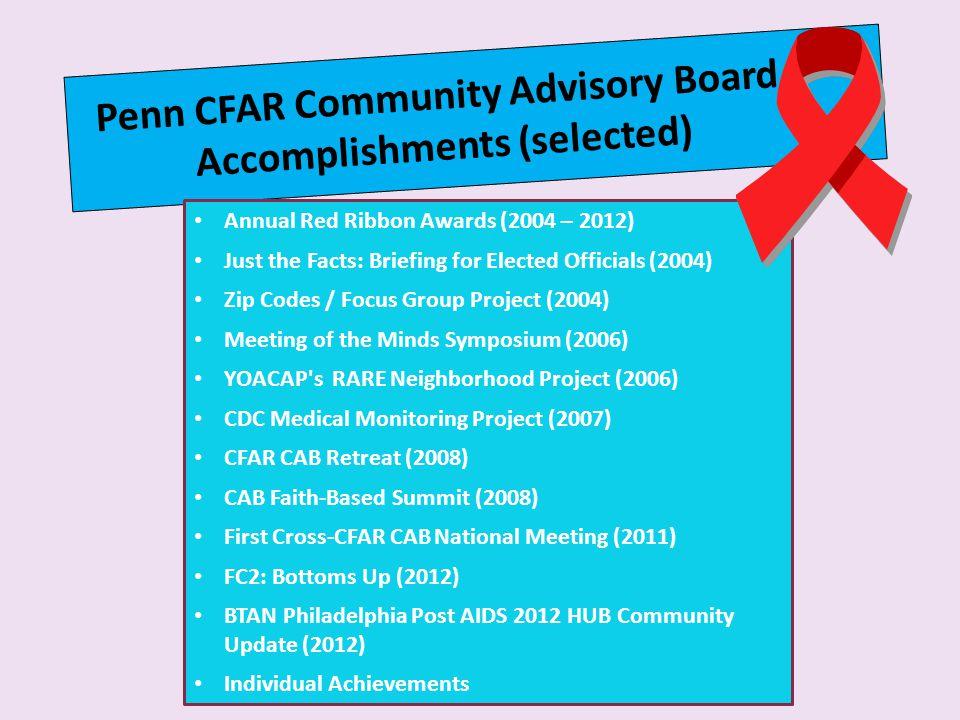 Penn CFAR Community Advisory Board Accomplishments (selected)