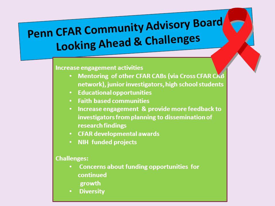 Penn CFAR Community Advisory Board Looking Ahead & Challenges