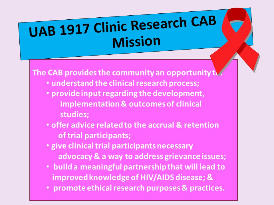 UAB 1917 Clinic Research CAB Mission