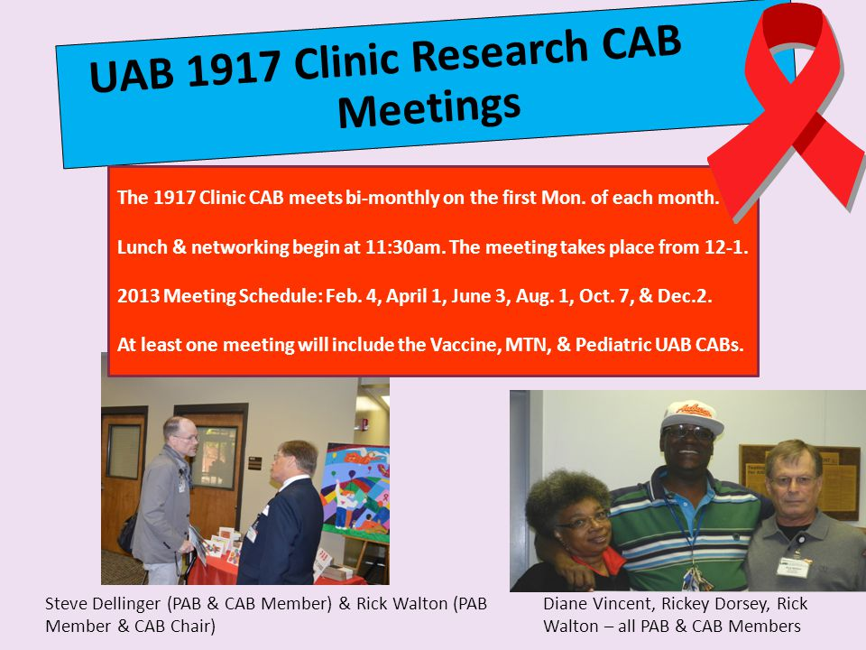UAB 1917 Clinic Research CAB Meetings