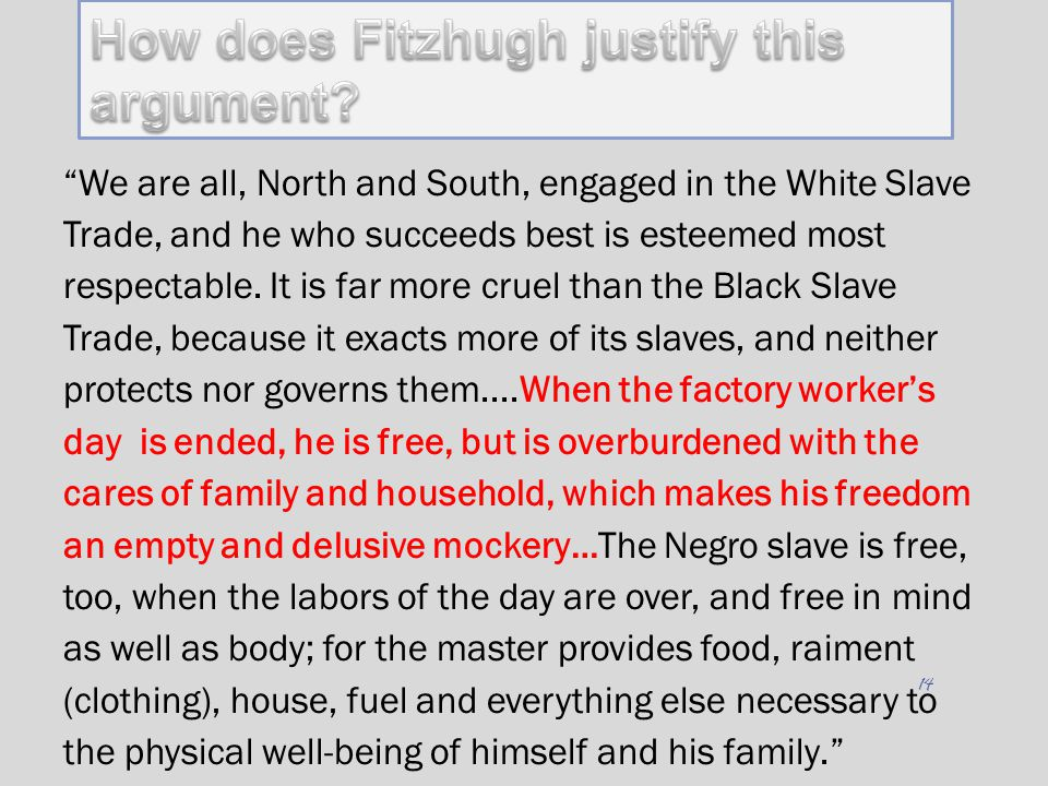 Cannibals All! How does Fitzhugh justify this argument
