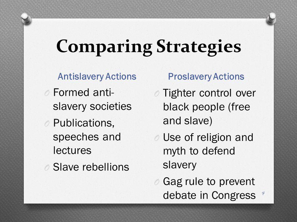 Comparing Strategies Formed anti-slavery societies