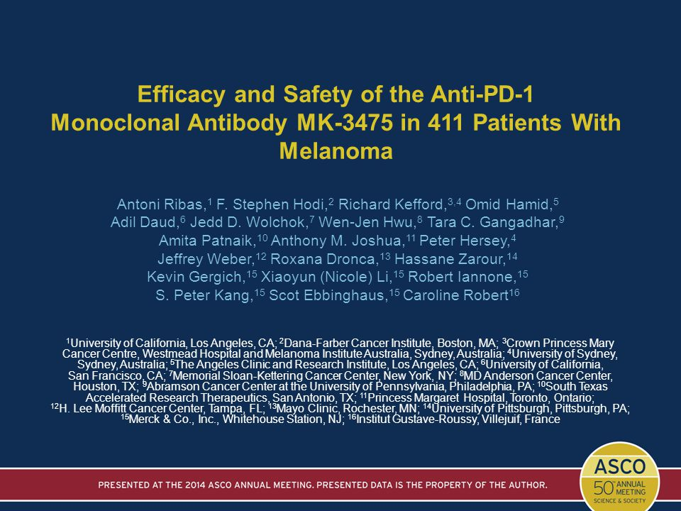 Efficacy and Safety of the Anti-PD-1 Monoclonal Antibody MK-3475 in 411 Patients With Melanoma