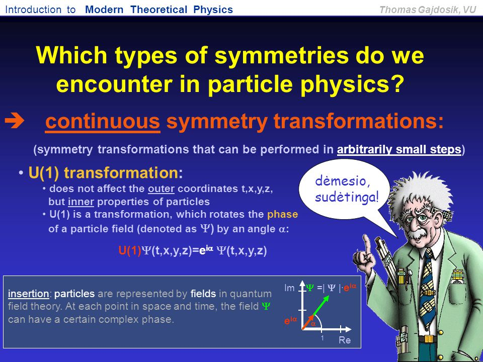 Which types of symmetries do we encounter in particle physics