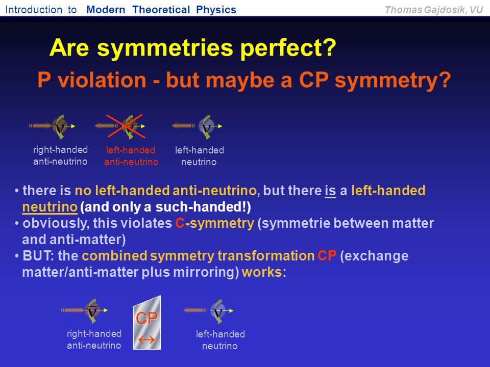 Are symmetries perfect P violation - but maybe a CP symmetry