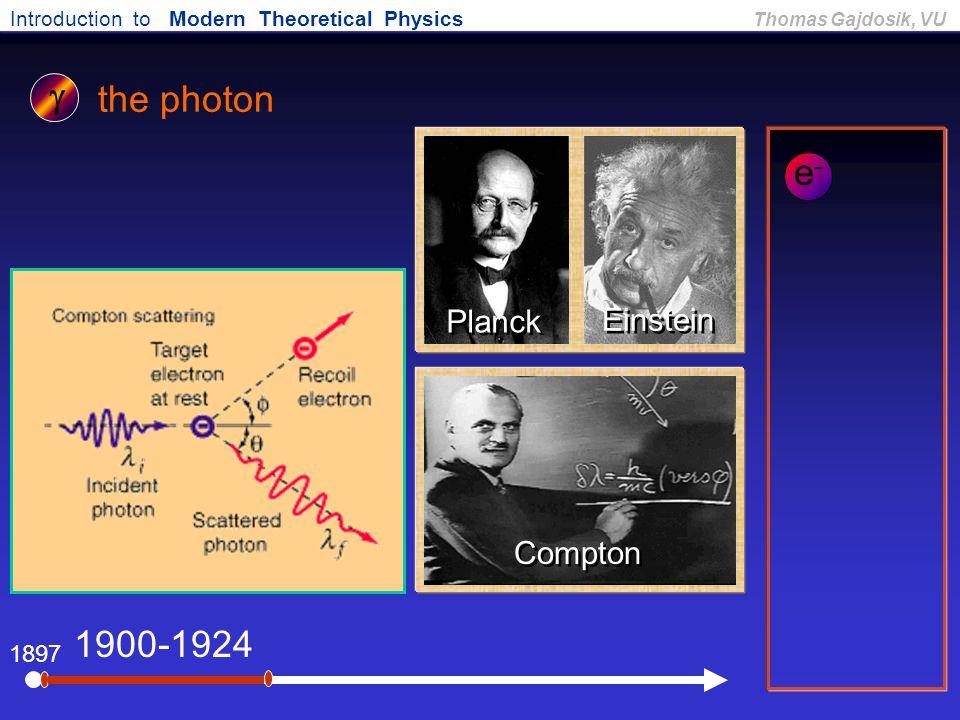 g the photon e- 1900-1924 Planck Einstein Compton 1897