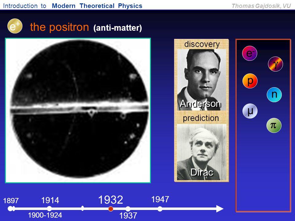 the positron (anti-matter)
