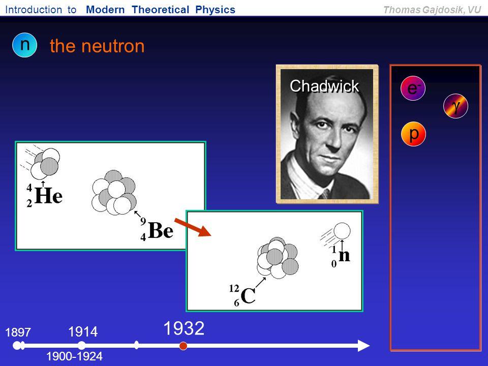 n the neutron e- g p 1932 Chadwick 1914 1897 1900-1924