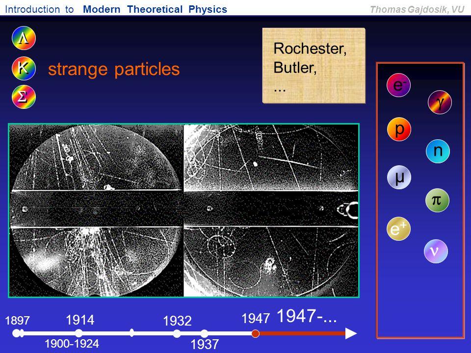 strange particles e- g p n µ p e+ n 1947-... L Rochester, Butler, K