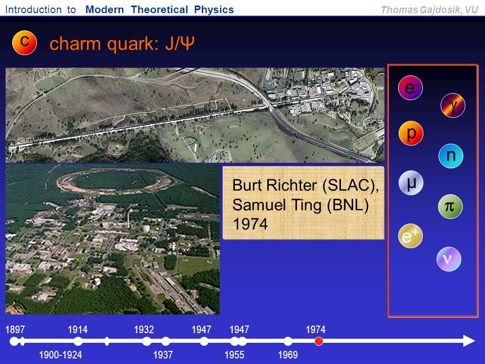 c charm quark: J/Ψ e- g p n µ p e+ n Burt Richter (SLAC),
