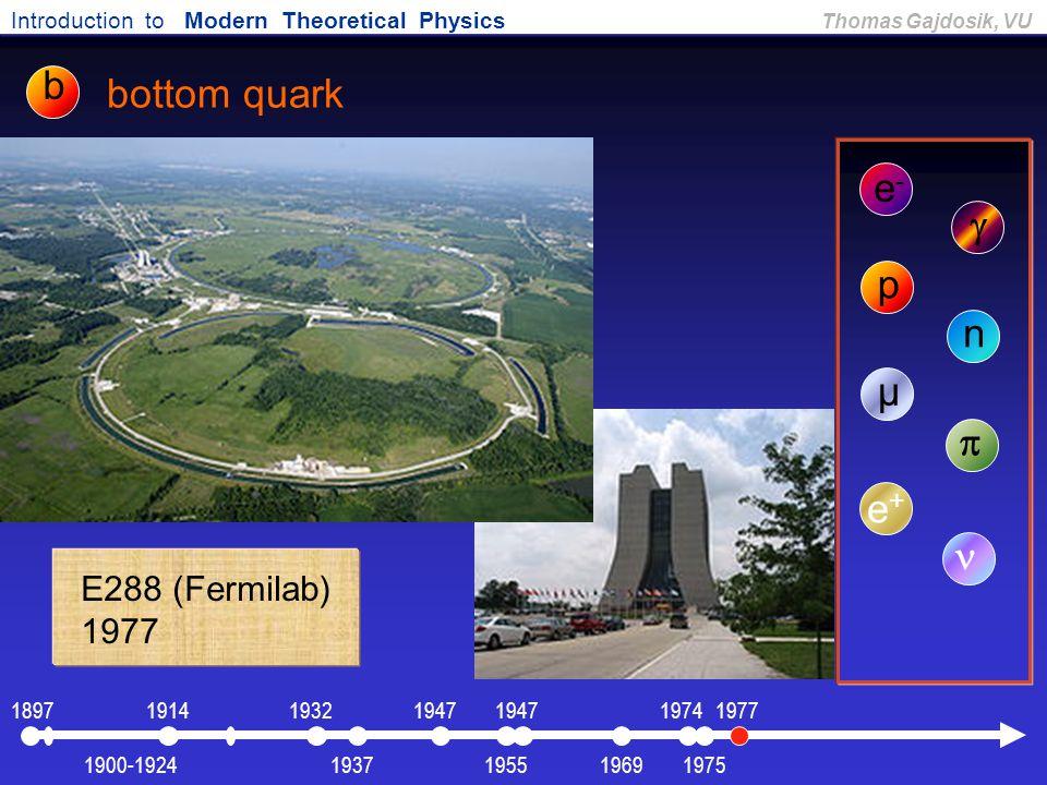 b bottom quark e- g p n µ p e+ n E288 (Fermilab) 1977 1897 1914 1932